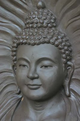 "Detail: ""Amitabha: Red Buddha of Infinite Light"" Limited Edition Bronze Sculpture"